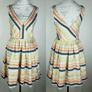 J.Crew Striped Fit N Flare Shimmer Dress 8